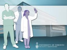 illustration of Faculty of Dentistry building with 3 dentists standing in front